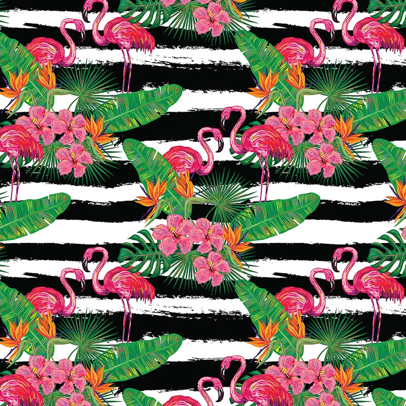 Seamless summer tropical pattern with flamingo, palm leaves and flowers