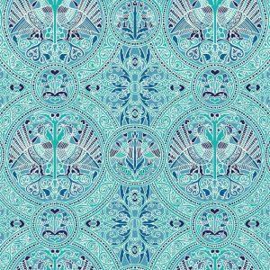 Florence Broadhurst Arabian Birds, Aquamarine