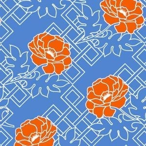 Florence Broadhurst Large Floral Trellis, Empire Blue