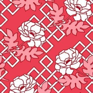 Florence Broadhurst Large Floral Trellis, Red Queen