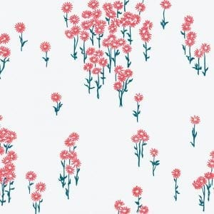 Florence Broadhurst Scatter Daisy, Coral Sea