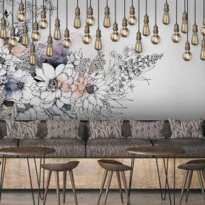 Typoflora Wall Mural, Peonies