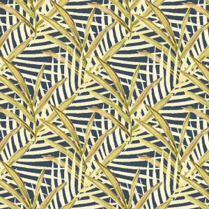 Sara B Foliage in navy. Materialised textile and wall covering
