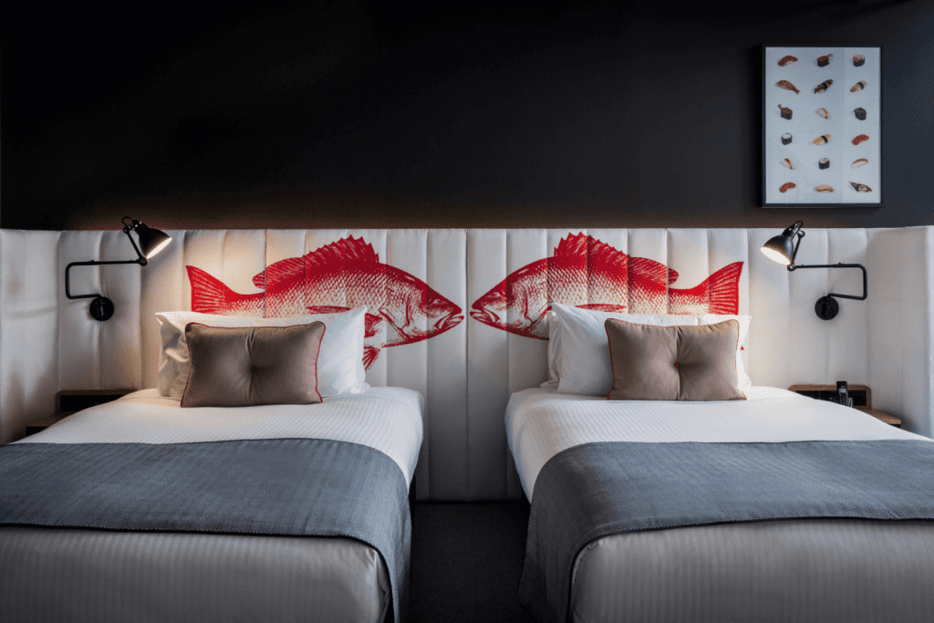 Ovolo Woolloomooloo custom bedhead fabric, Materialised
