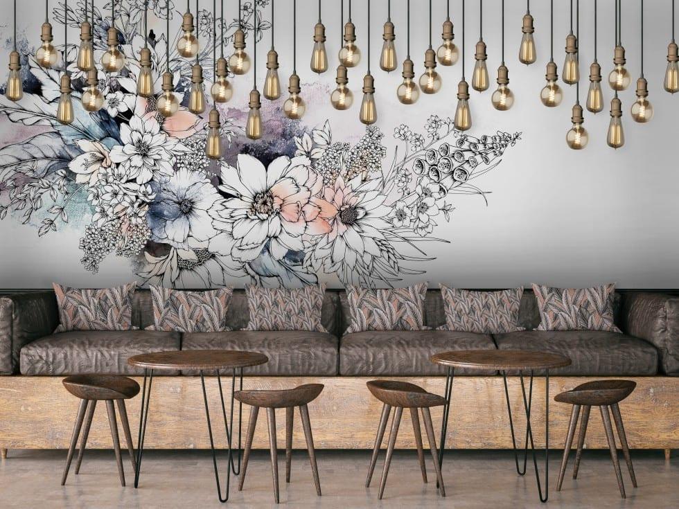 Typoflora peonies wall mural
