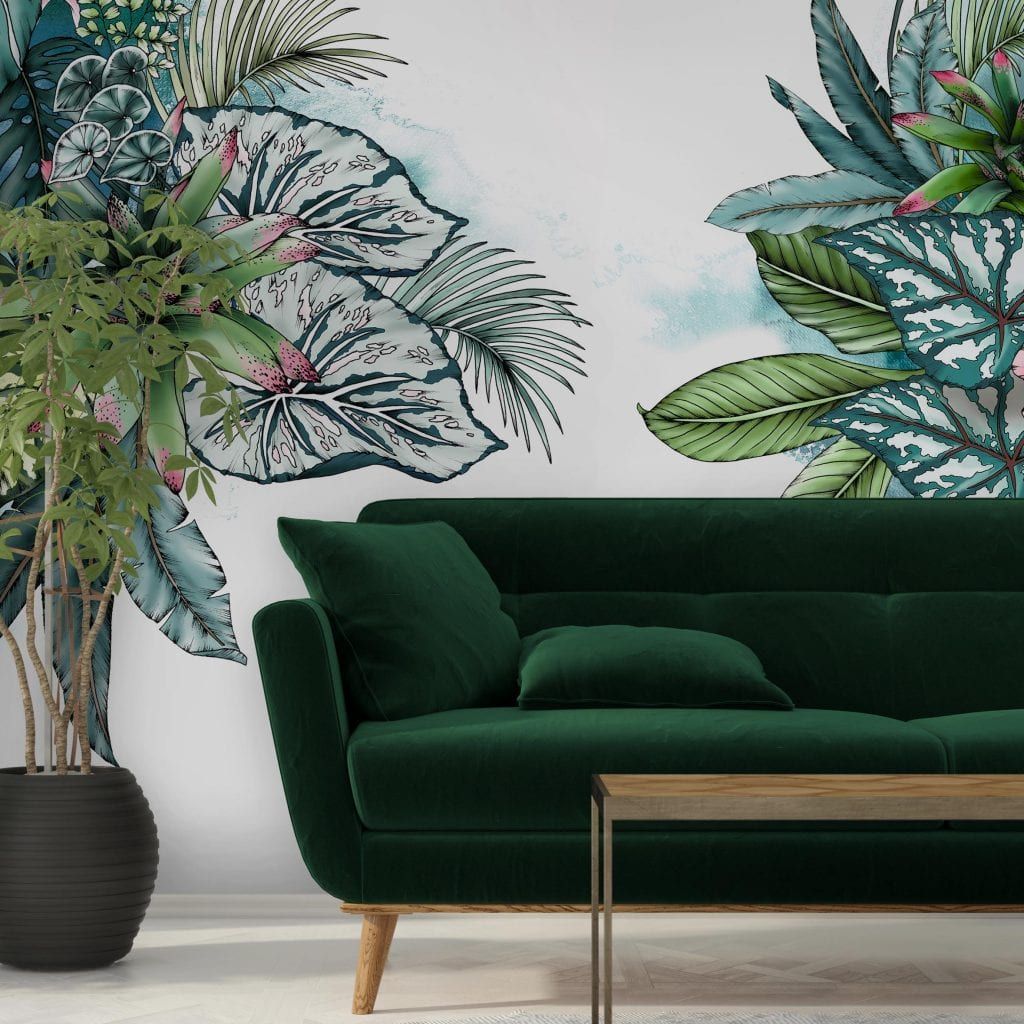 Rain forest wall mural, Typoflora