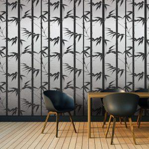 Bamboo Hawaii, Coal, Florence Broadhurst wallpaper