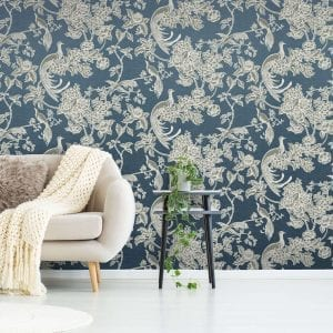Birds of Paradise, Navy, Florence Broadhurst wallpaper