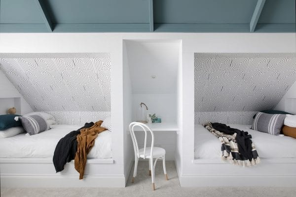 Boys bedroom, Turnabouts wallpaper, Materialised, Florence Broadhurst, Three Birds Renovations
