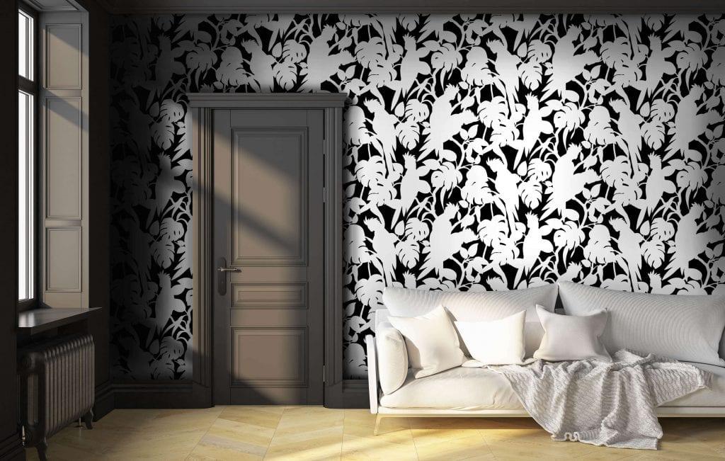 Cockatoos, Soot, Florence Broadhurst wallpaper