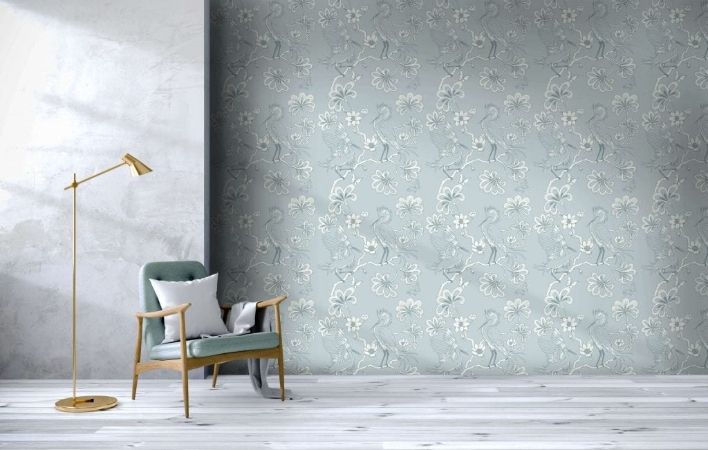 Egrets, Frost, Florence Broadhurst wallpaper