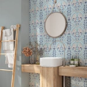 Florence Broadhurst Wallpaper, Arabian Birds, Azure, powder room