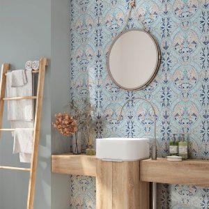 Florence Broadhurst Wallpaper, Arabian Birds, Azure, powder room