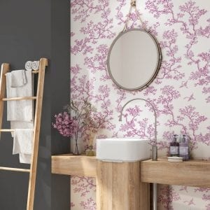 The Cranes, Magenta, Florence Broadhurst wallpaper