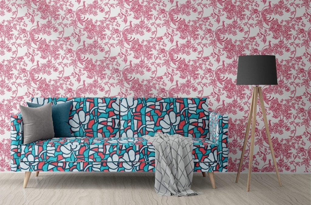 Birds Of Paradise, Raspberry, Florence Broadhurst wallpaper