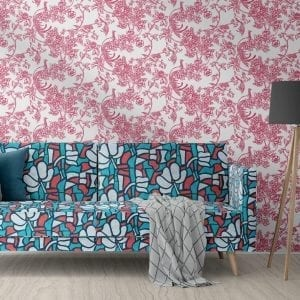 Birds Of Paradise, Raspberry, Florence Broadhurst wallpaper