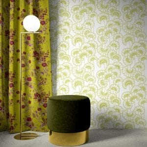 Florence Broadhurst Wallpaper, Japanese Fans, Avocado