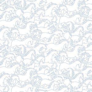 Florence Broadhurst Horses Stampede, Blue Gum