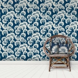 Japanese Floral, True Blue, Florence Broadhurst wallpaper