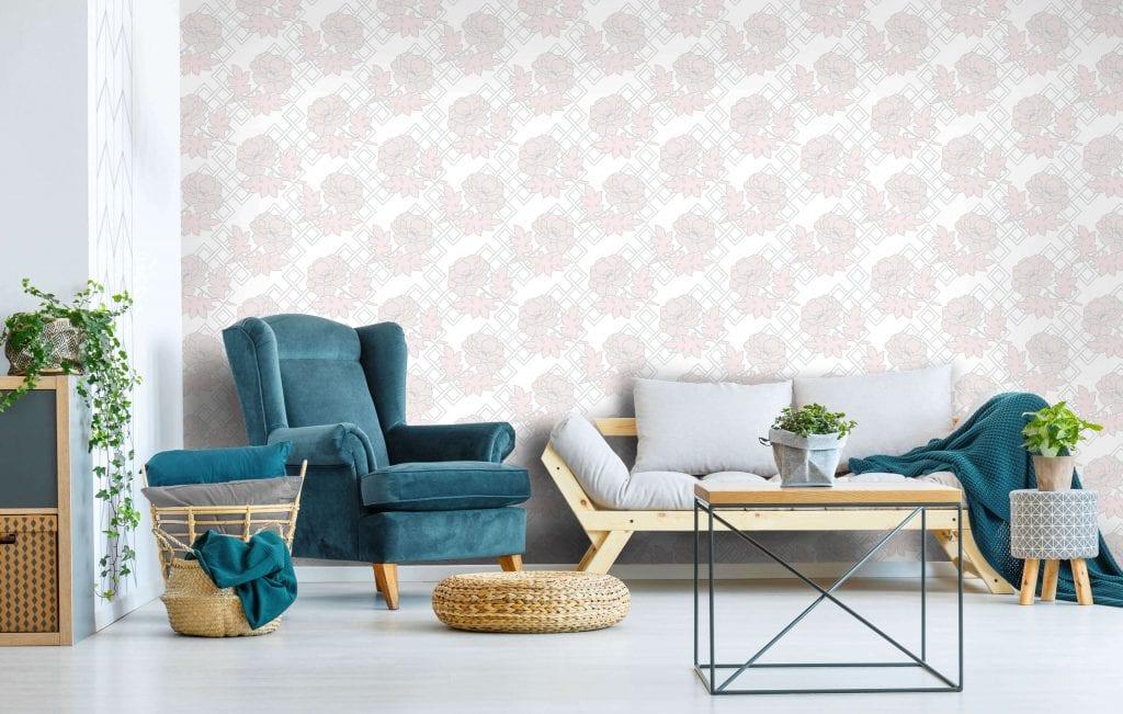 Large Floral Trellis, Sugar, Florence Broadhurst wallpaper