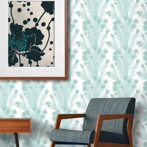 Peacock Feathers Turquoise wall vinyl, Florence Broadhurst