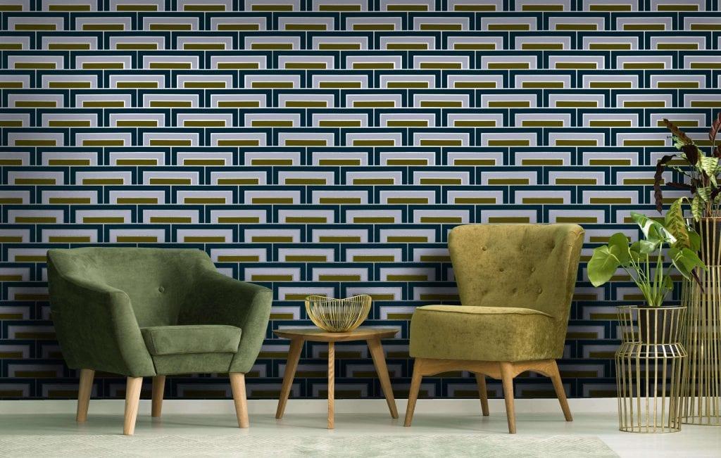 Steps Currents, Silver, Florence Broadhurst wallpaper