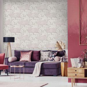 Tudor Floral, Shimmer, Florence Broadhurst wallpaper