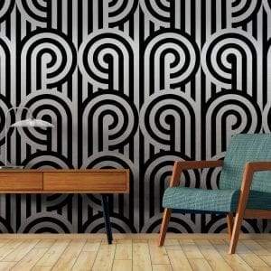 Florence Broadhurst Turnabouts Silver wallpaper