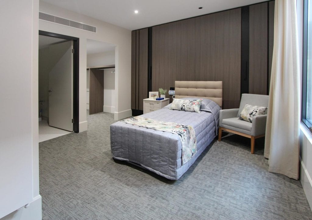 aged care facility bedroom, BlueCross Coasthaven