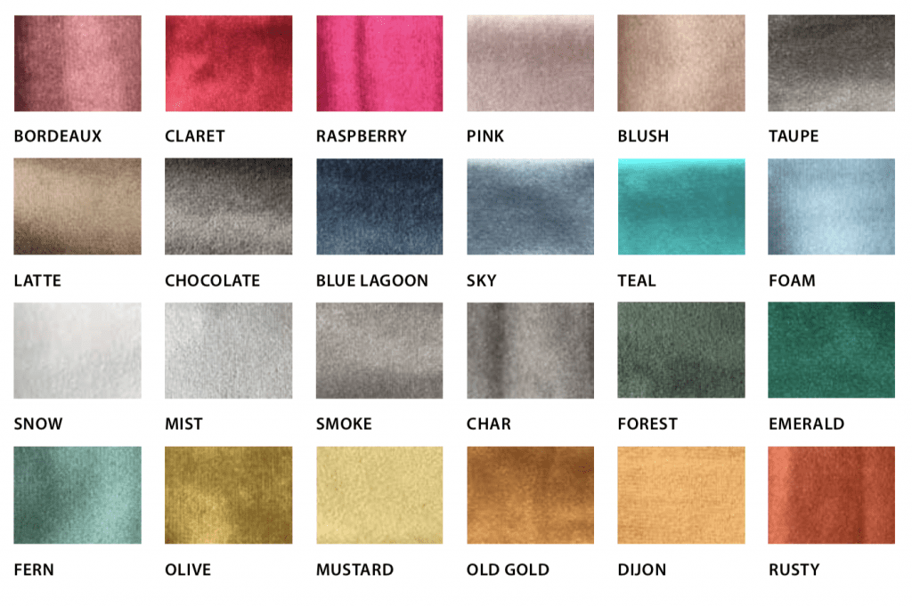 Luxury Escape Velvet Colour Options