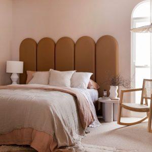 Three Birds Renovations, House 12, Create Estate bedhead, Materialised fabric