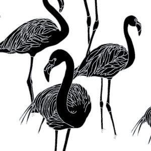 deco flamingo Noir