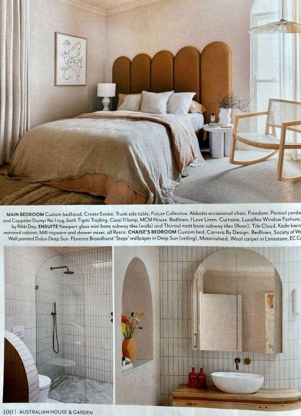 H&G Dec 2020 Rein II Chamois bedhead upholstery fabric