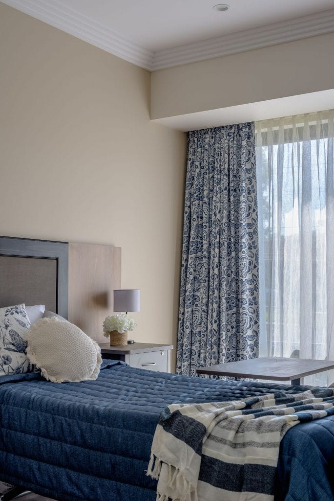 Bedroom drapery, aged care