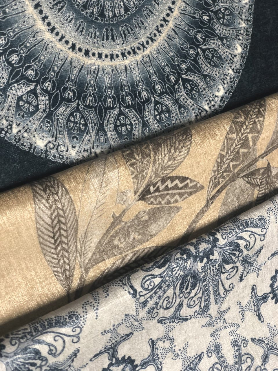 Miranda Brown night sky  colourway printed on a mix of our commercial graded fabrics